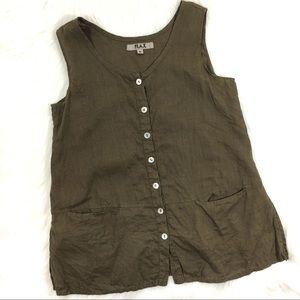 Flax Linen Button Down Tank, Green, Size Small
